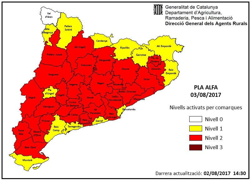Mapa de Catalunya amb els nivells activats del pla Alfa