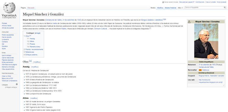 Captura de la fitxa d'en Miquel Sánchez a Viquipèdia