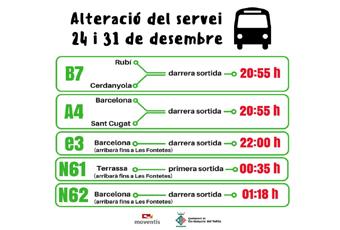 Canvis en el servei de Bus el 24 i 31 de desembre