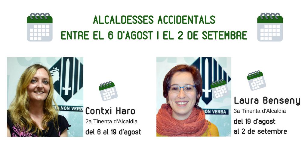 Contxi Haro i Laura Benseny seran les alcaldesses accidentals a l'agost