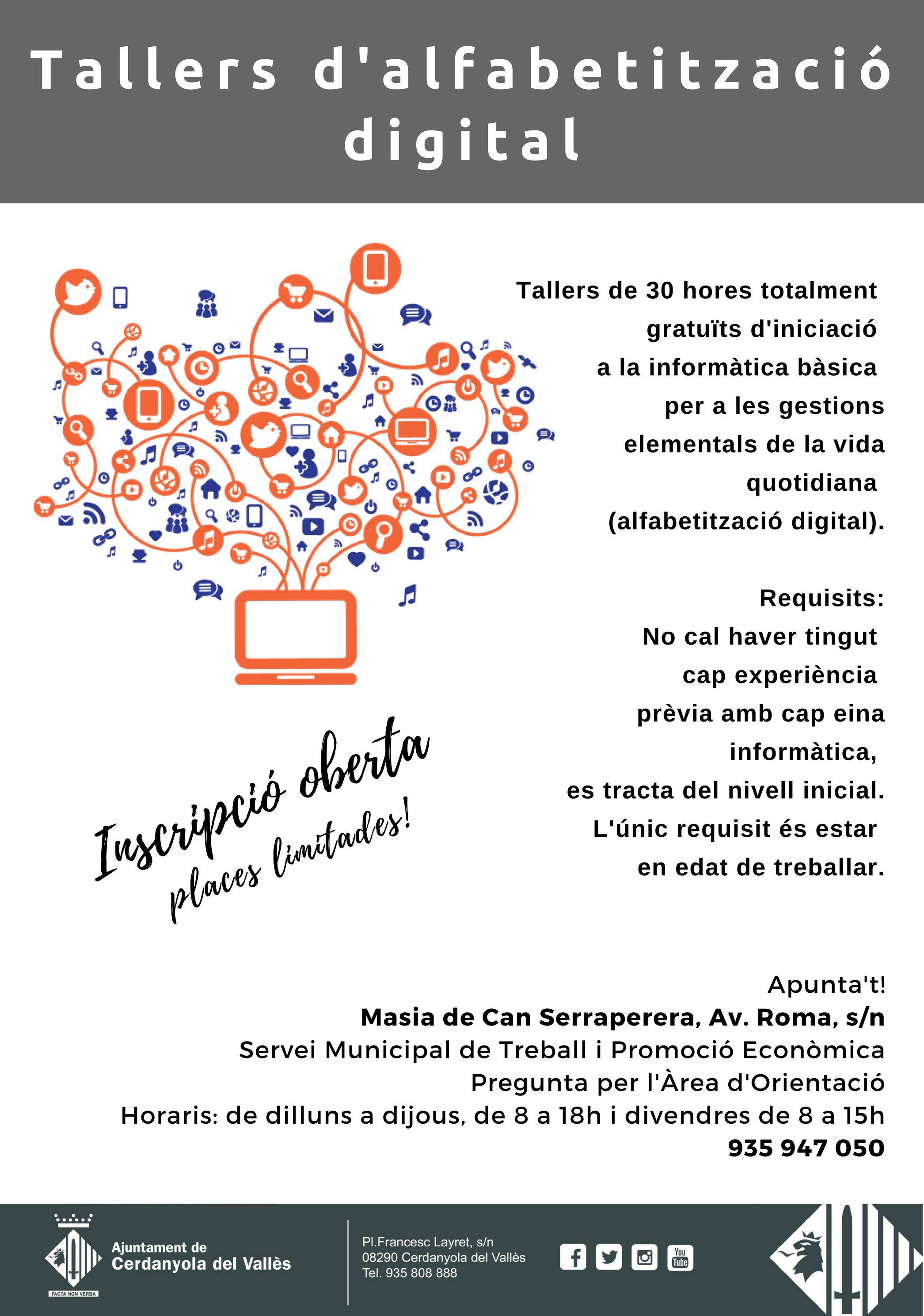 Cartell dels tallers d'alfabetització digital