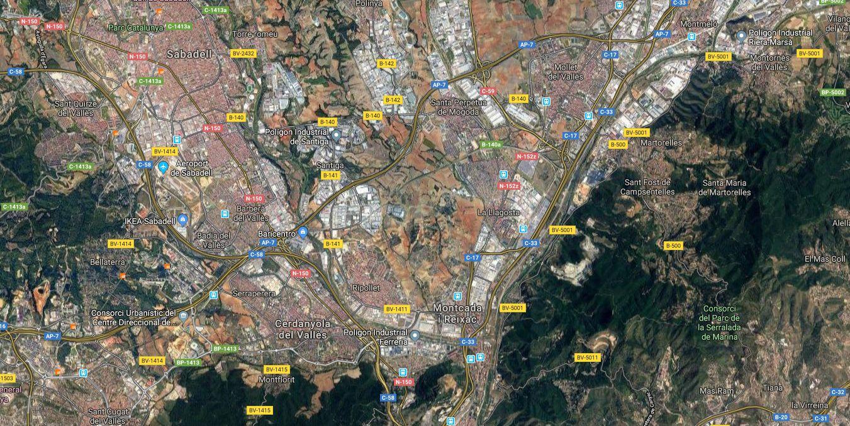 Vista aèria del Hub B-30. Imatge de Google Maps.