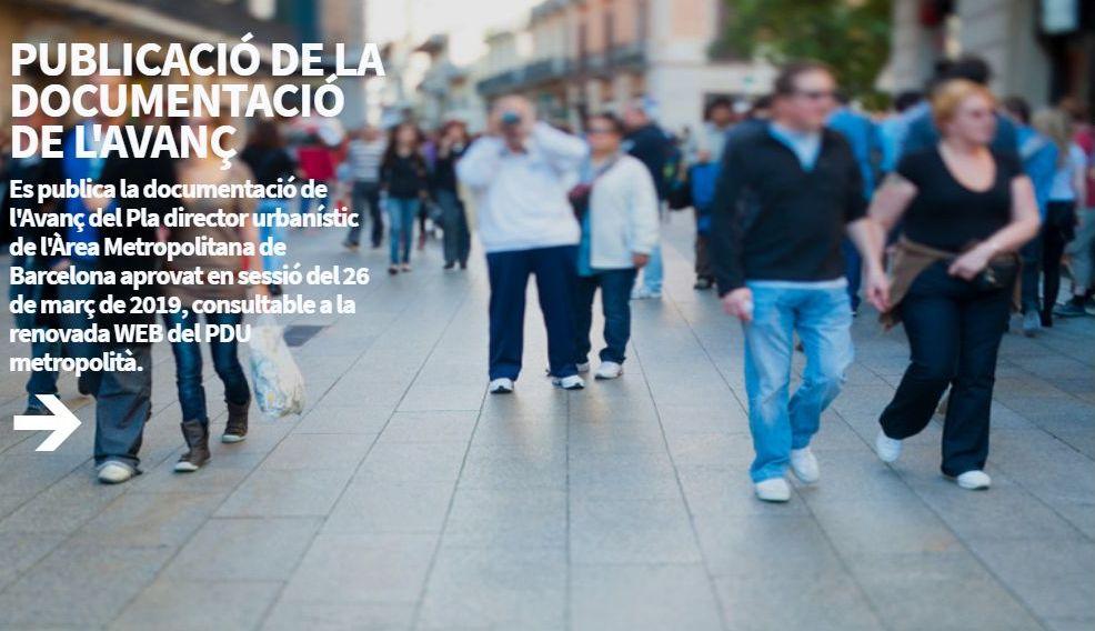 Captura de pantalla de la web del PDU metropolità