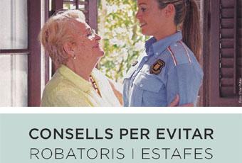 Imatge del tríptic publicat pels Mossos amb consells per evitar robatoris i estafes