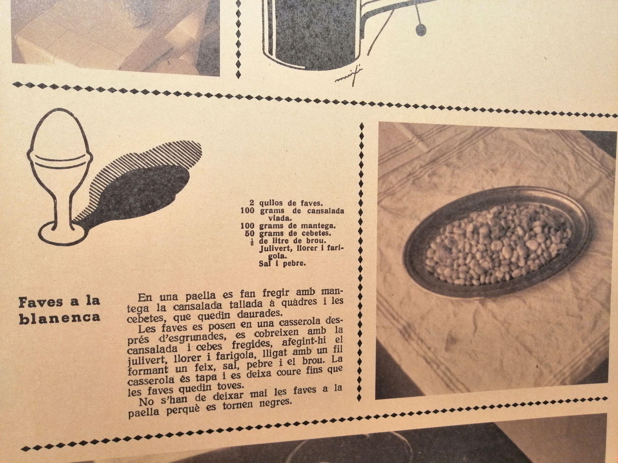 Recepta de Faves a la blanenca que es pot trobar a l'exposició