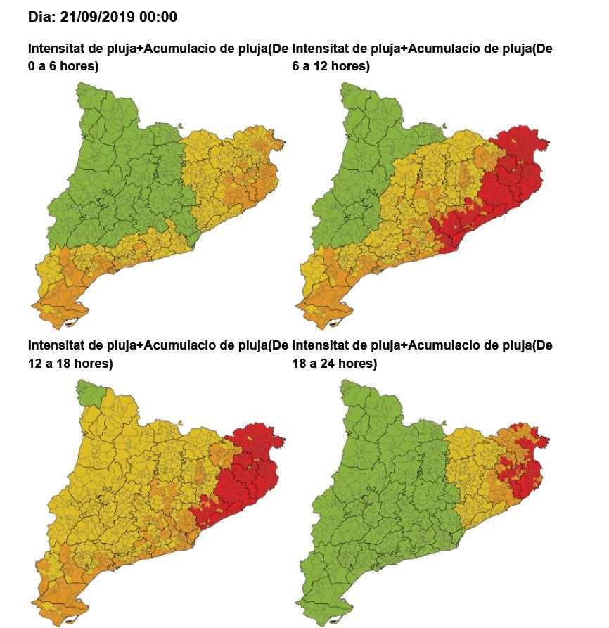 Mapa de risc per intensitat i acumulació de pluja