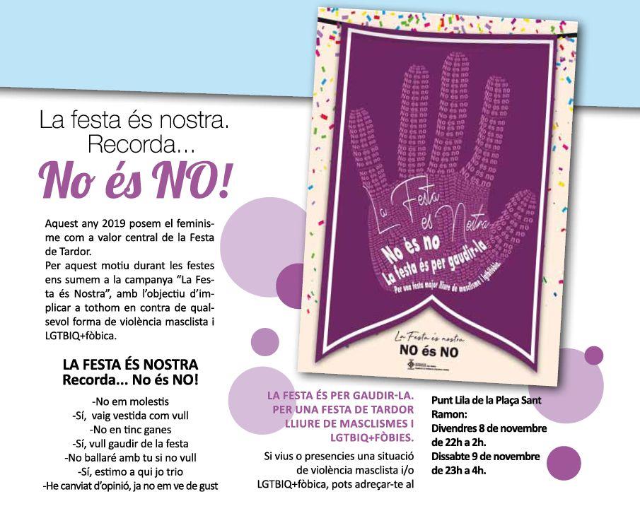 Imatge de la campanya del Punt Lila a la revista de la festa