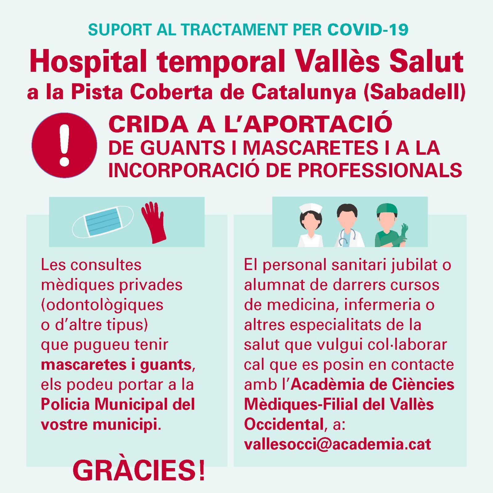 Instruccions per subministrar a l'Hospital temporal Vallès Salut