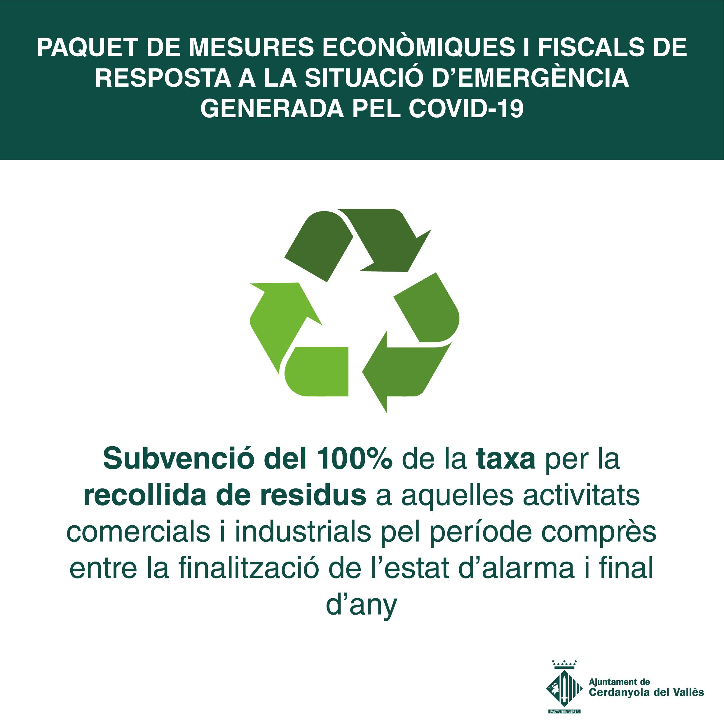 Imatge de la subvenció del 100% de la taxa de recollida de residus per a les activitats comercials