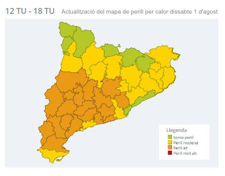Mapa de perill per calor corresponent al dissabte 1 d'agost de 12h a 18h