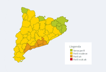 Mapa perill per intensitat de pluja 18 de setembre 2020