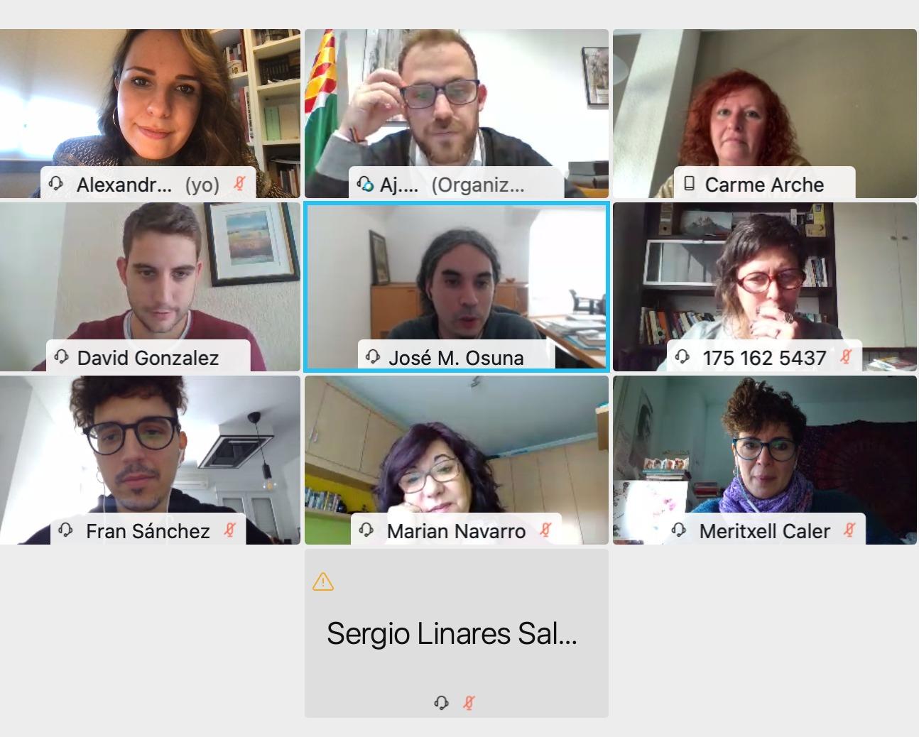 captura de pantalla reunió virtual