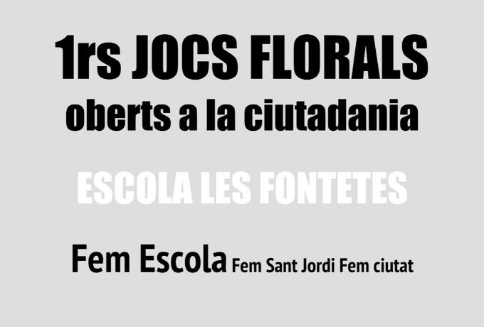 Detall del cartell dels Jocs Florals de l'Escola Les Fontetes