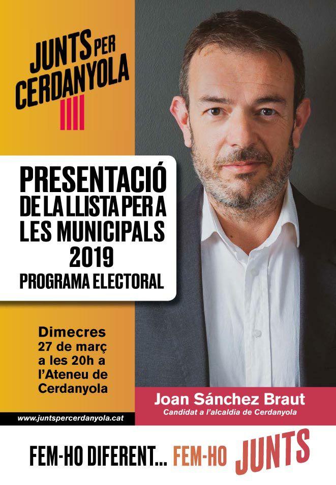 Cartell de l'acte de presentació de la llista i programa electoral de Junts per Cerdanyola