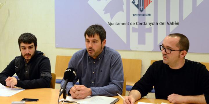 L'alcalde Carles Escolà junt amb els regidors Maurici Jaumandreu i Ivan González