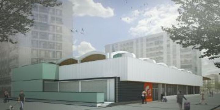 Simulació de la façana del mercat acabades les obres