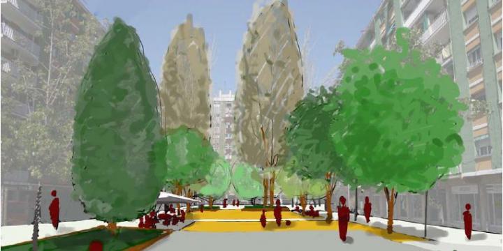 Render de la plaça de Goya, un cop efectuada la intervenció