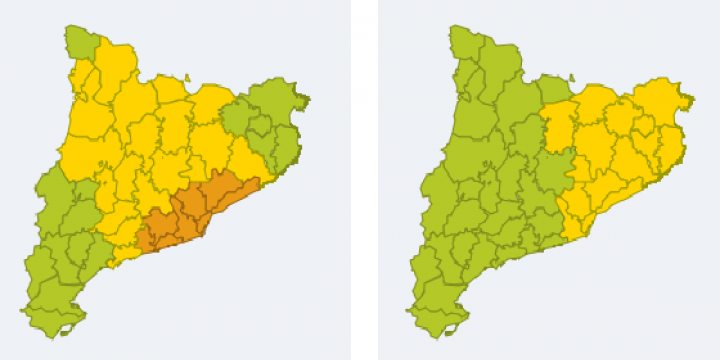 Mapes de perill per intensitat de pluja per dilluns entre les 00h i les 12h