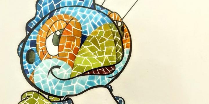 Dibuix de la propostapresentada per Beaumont i inspirada i inspirada en Gaudí