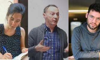 Les persones guanyadores dels premis. D'esquerra a dreta: Anna Mateus Alamon, Albert Gavaldà Irujo i AriàPaco Abenoza