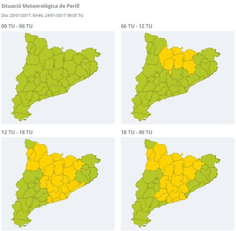 Mapa de situació de perill moderat per possibles nevades
