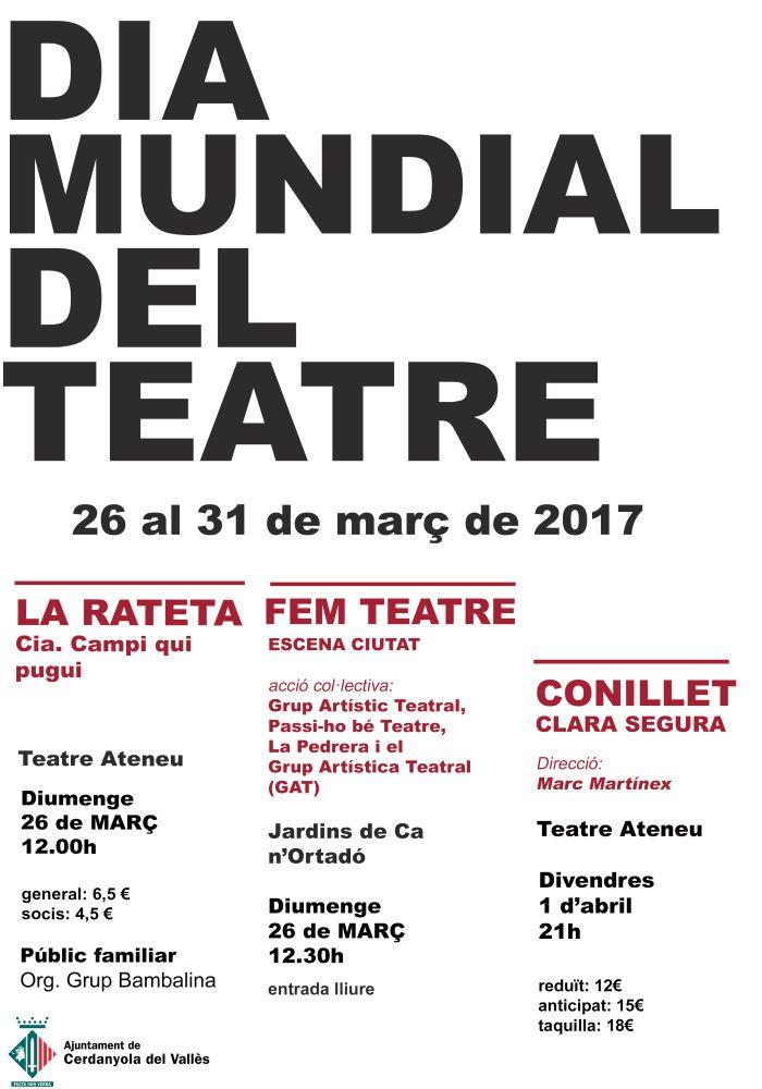 Cartell del Dia Mundial del Teatre a Cerdanyola