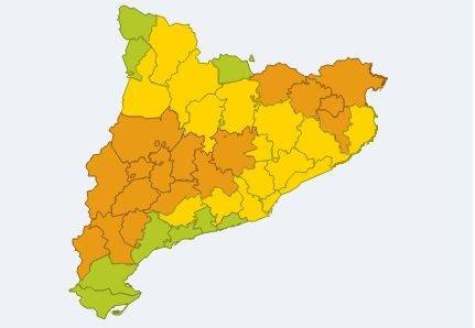 Mapa d'avís de situació Meteorològica de Perill entre les 12h i les 18h