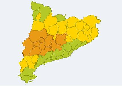 Mapa de la situació meteorològica de perill d'avui entre les 12h i les 18h