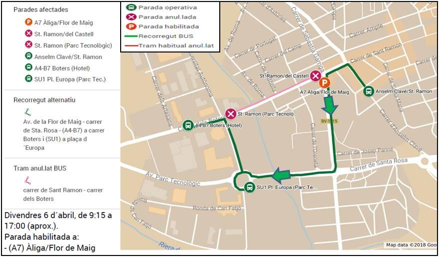 Mapa amb els canvis del recorregut previstos per demà