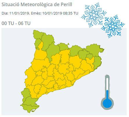 Mapa de perill per risc de fred entre la mitjanit i les 6h