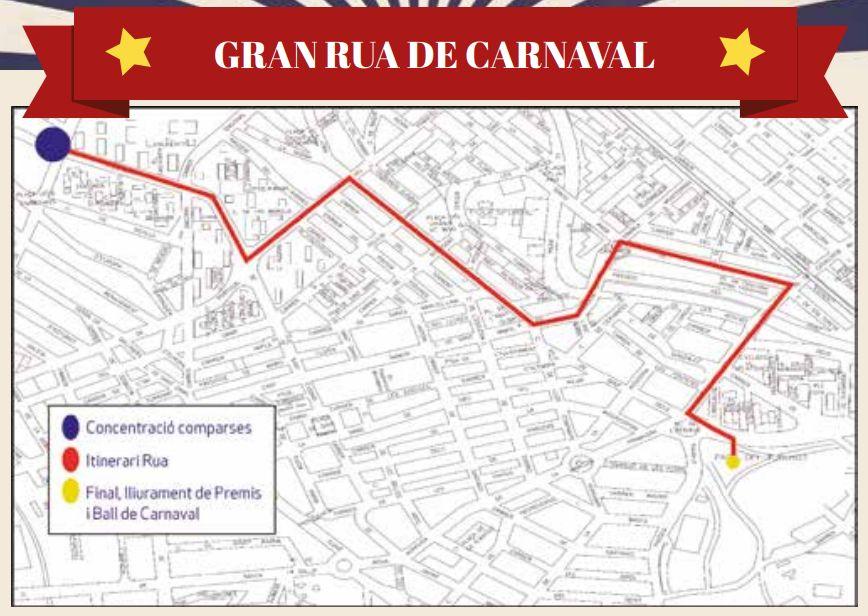Mapa amb el recorregut de la Rua de Carnaval 2019