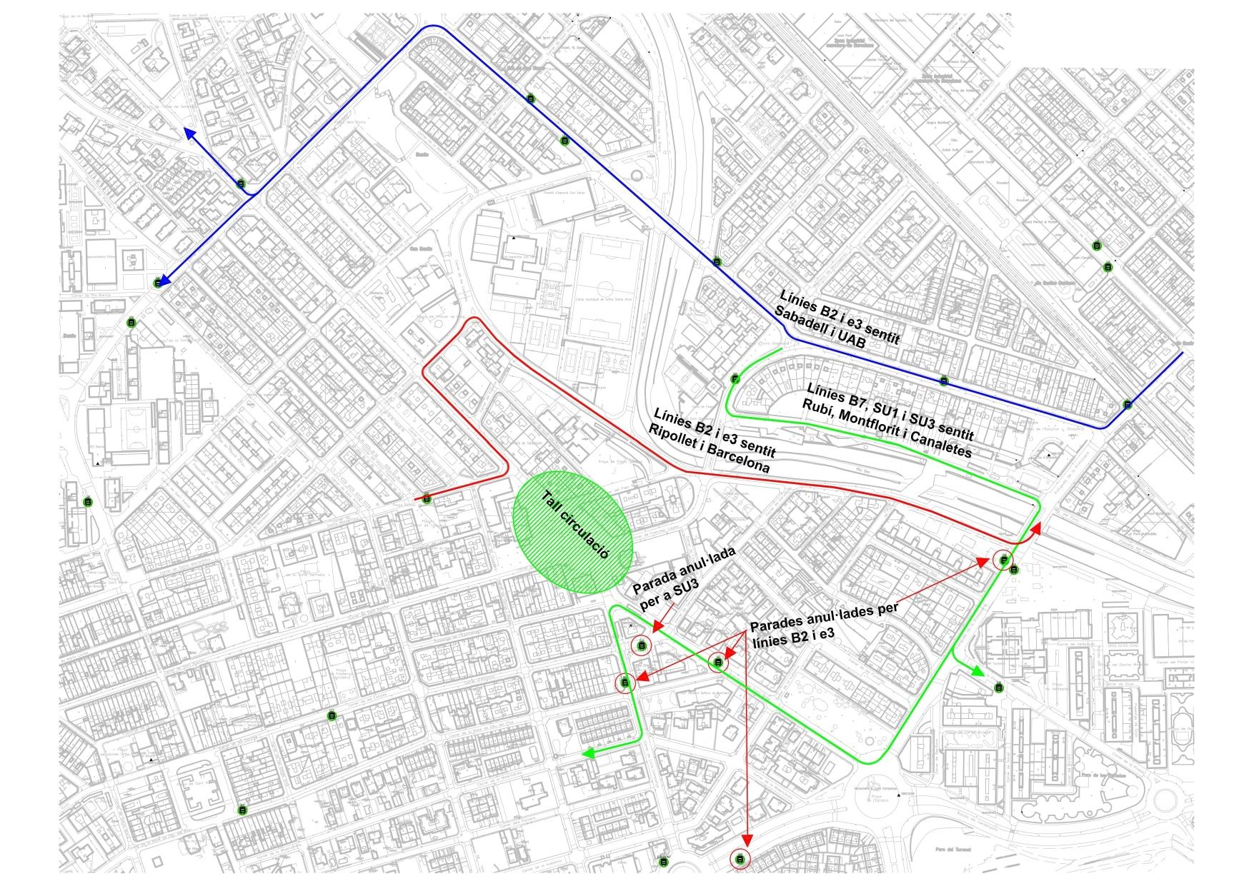 Mapa amb les afectacions que es produiran dimarts 23 d'abril al centre de la ciutat
