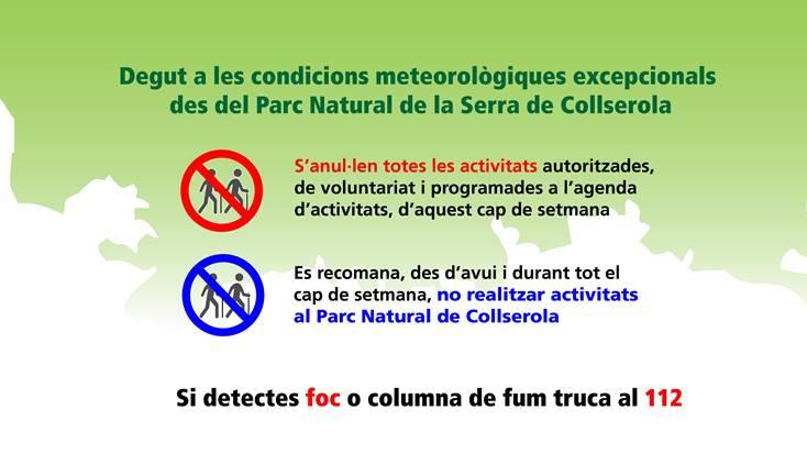 S'anul·len les activitats al Parc de Collserola