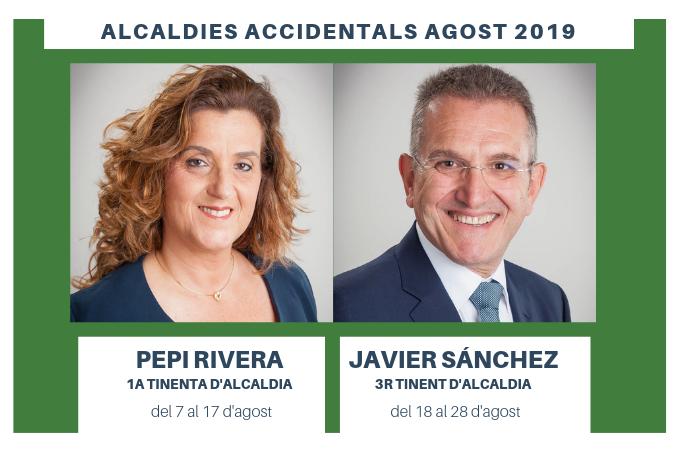 Pepi Rivera i Javier Sánchez substituiran a l'alcalde durant les vacances d'estiu