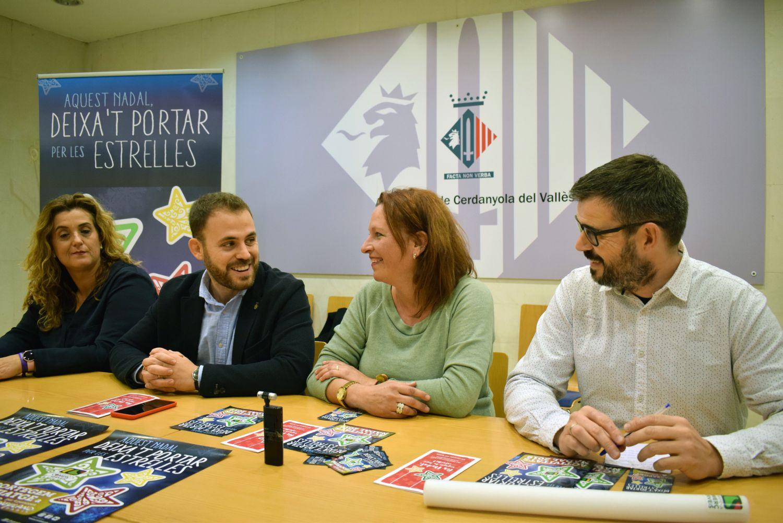 Pepi Rivera, Carlos Cordón, Carme Arché i Xavi Olivé presentant la campanya de Nadal