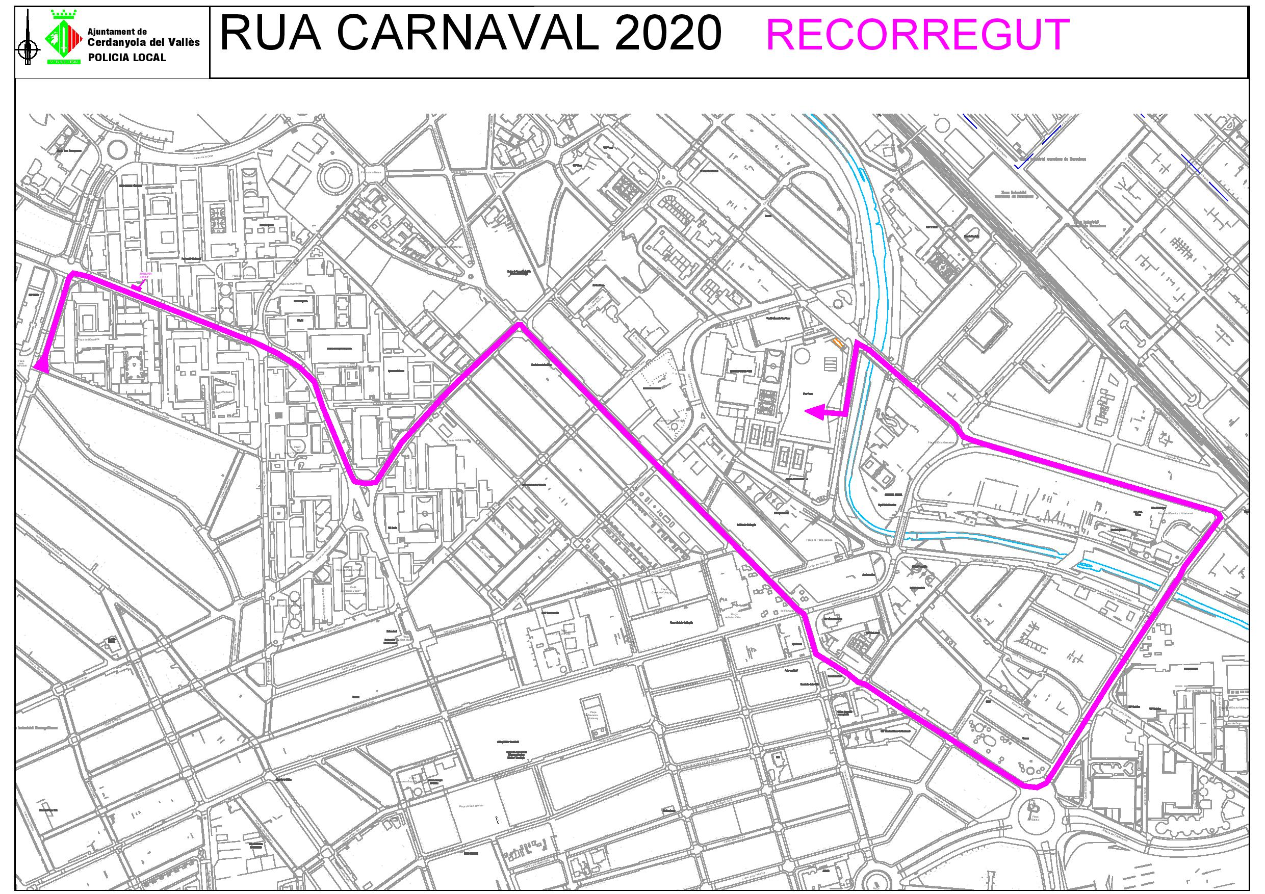 Plànol del recorregut de la rua de Carnaval 2020