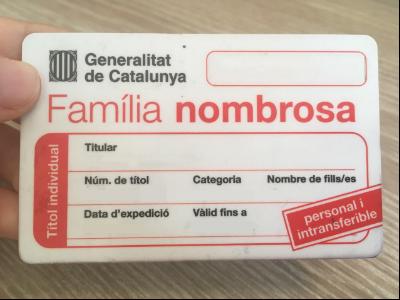 Imatge d'un carnet de família nombrosa (Generalitat Catalunya)