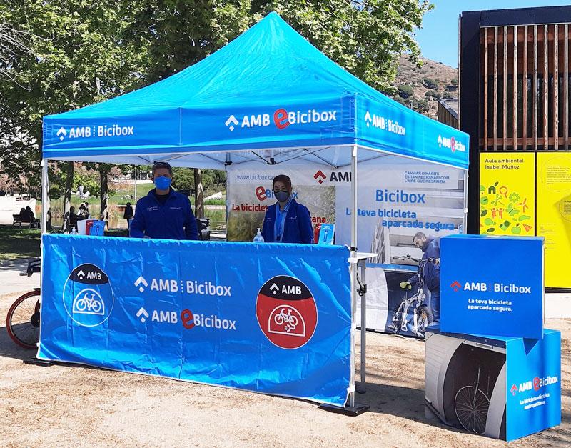 carpa informativa del servei e-Bicibox Foto: @ambmobilitat BiciBox