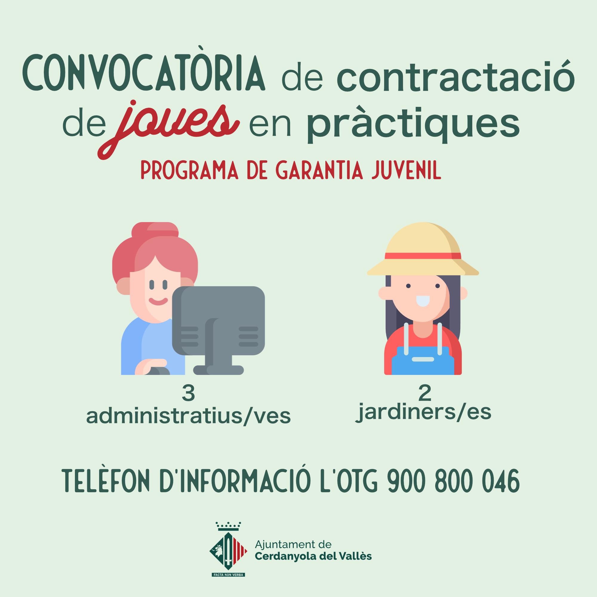 Imatge convocatòria de contractació de joves en pràctiques