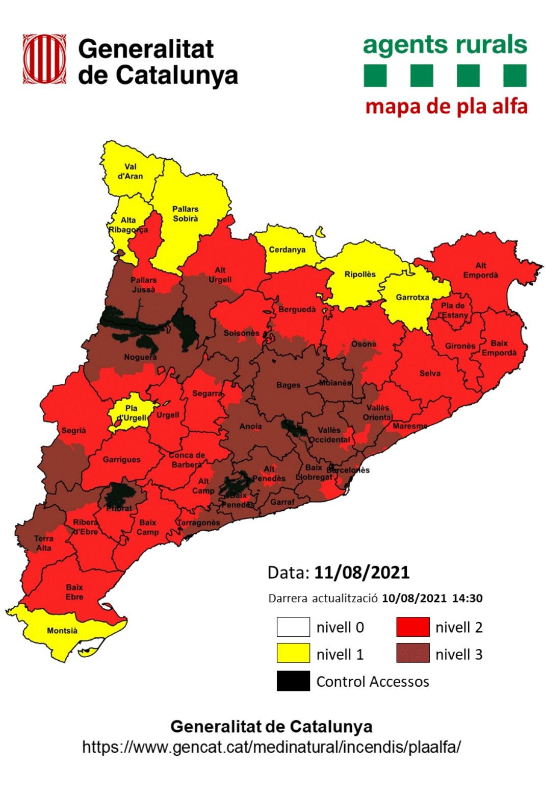 Mapa perill incendis 11.8.21