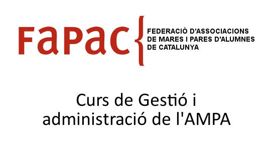 Anunci del curs de gestió i administració de l'AMPA