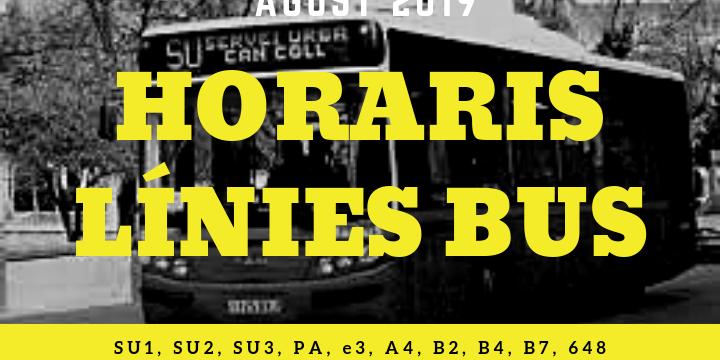 Cartell horaris bus agost 2019