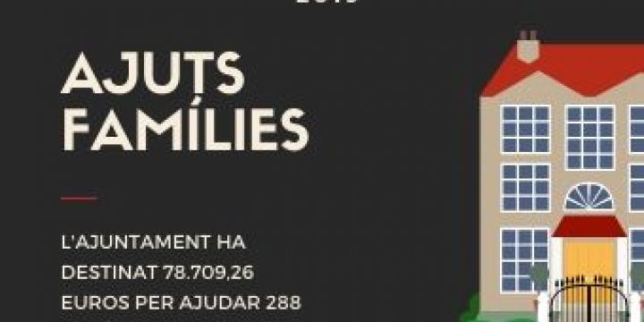 L'ajuntament ha destinat 78.709,96 euros als Ajuts a les Famílies