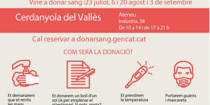 Imatge anunciant les properes campanyes de donació de sang a Catalunya