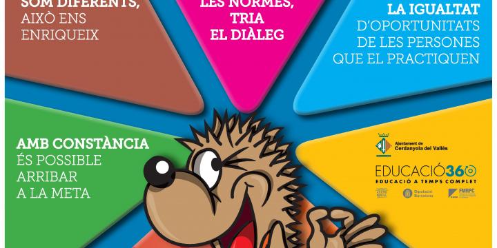 Cartell amb els principals valors dels Jocs Esportius Escolars de Cerdanyola