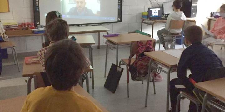 moments de la reunió virtual amb l'alcalde