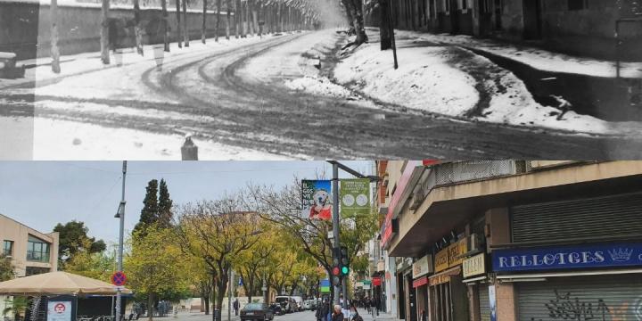 imatges abans i actual on estava situada la placa