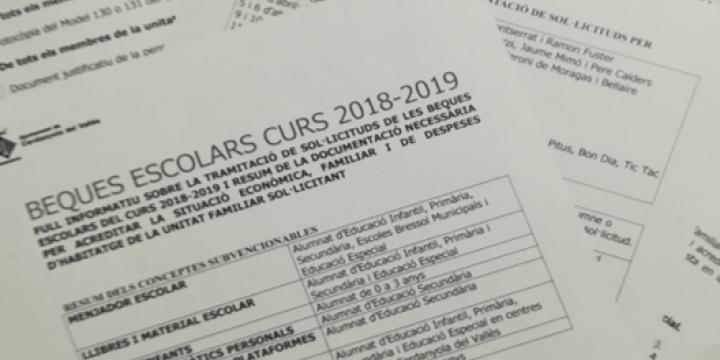 Convocatòria de les beques escolars per al curs 2018-2019