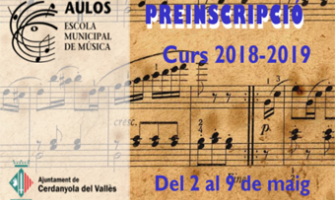 Cartell de la preinscripció a l'EMM Aulos