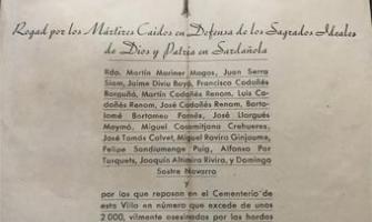 Document amb el nom de les persones executades a Cerdanyola durant la Guerra Civil